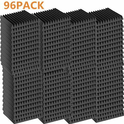 "96 Pack Acoustic Wedge Studio Soundproofing Foam Wall Tiles 12"" X 12"" X 1"" MX"