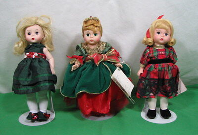 "3 Madame Alexander 8"" Holiday Taffeta Little Christmas Princess Winter Garden"