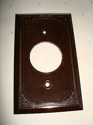 Vintage Smith & Stone Bakelite Single Gang Brown Ribbed Wall Plate Nos