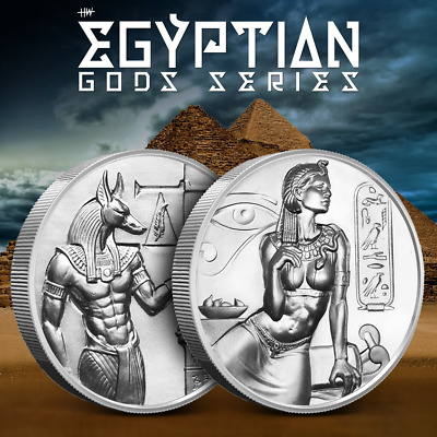 Cleopatra & Anubis 2 Ultra High Relief 2 OZ Silver Rounds - Egyptian God Series.