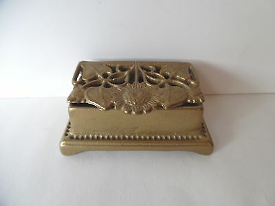 Vintage Repro Art Nouveau Solid Brass Double Roll Stamp Holder Sunflower Design