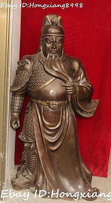 "30"" Huge Chinese Ancient Pure Bronze Guan Gong Yu Guangong Warrior God Statue"