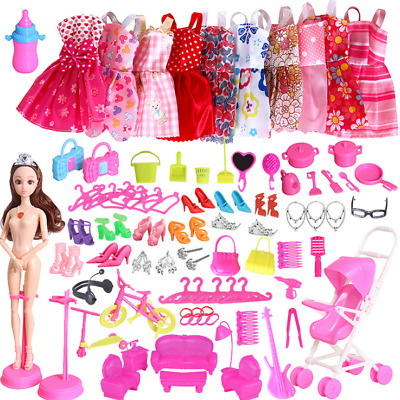 85PCS Outfits Clothes Set 10 Pack Clothes & 75Pcs Accessories Barbie Dolls AU