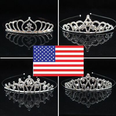 Girl Princess Heart  Crystal Tiara Wedding Crown Veil Hair Accessory USA