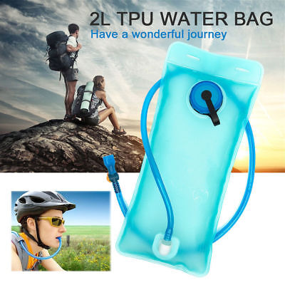 Blue 2L Bicycle Bike Cycling Camping Mouth Water Bladder Bag Hydration Hiking US