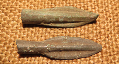Scythian- Sarmatia Bronze 2 pcs.Old Original Ancient Barbed Arrowhea 7-4 BC #8