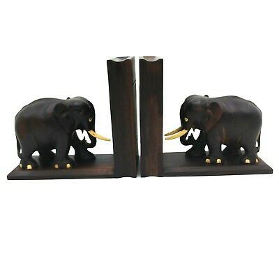 Vintage Hand Carved Wooden Elephant Bookends with Secret Compartments Heavy