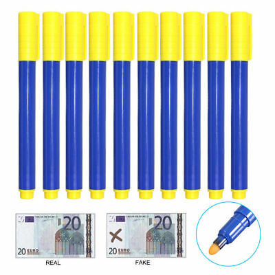 10pcs Counterfeit Forged Fake Detect Marker Bank Note Checker Money Tester Pen