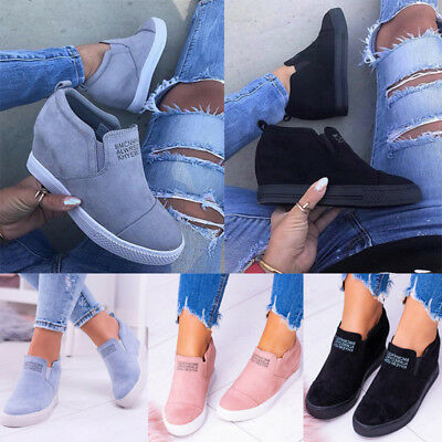 Fashion Women Hidden Wedge Heels Shoes Increased High Top Casual Sneakers Shoes