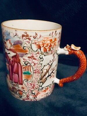 Late 19th-Early 20th-C Chinese Export Famille Rose Hand Painted Mug Cup