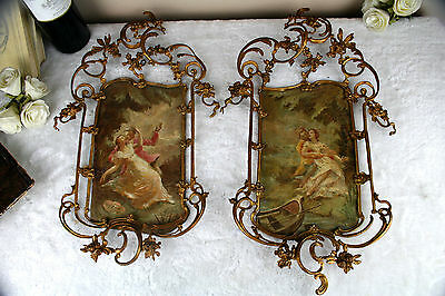 Rare Top PAIR Antique 19thc romantic 2 sided painting oil copper brass frame