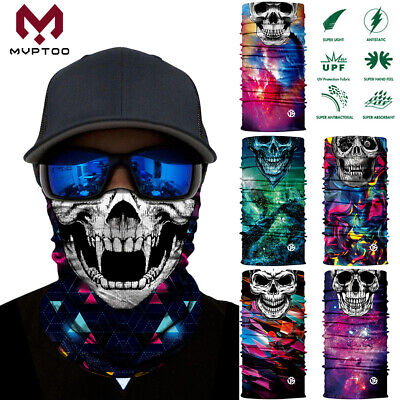 Skull Skeleton Neck Gaiter Warmer Face Mask Bandana Halloween Motorcycle Fishing