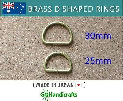 4/pk SOLID BRASS DEE D RING 25mm 30mm NON WELDED 3mm THICK LEATHERCRAFT