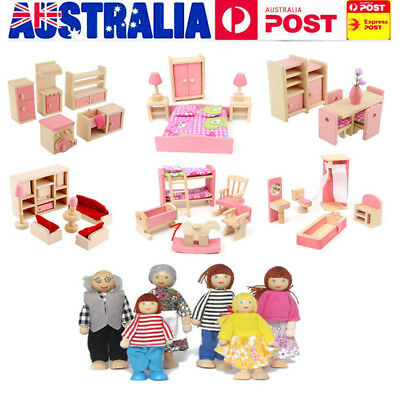 Wooden Furniture Doll House Family Miniature 5 Rooms Set Doll For Kids Children