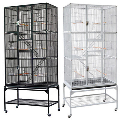 175cm Large Bird Cage Parrot Aviary Pet Stand-alone Budgie Perch Castor Wheels
