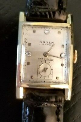 Diamond Gruen Curvex 14k Solid Gold Mans Deco Wristwatch 17j  440 Mvt. Ca.1948