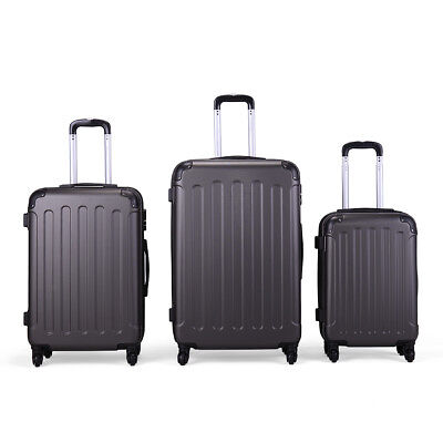 "20&24&28"" 3Pcs Luggage Travel Set 4 Wheels ABS+PC Trolley Case Carry On Suitcase"