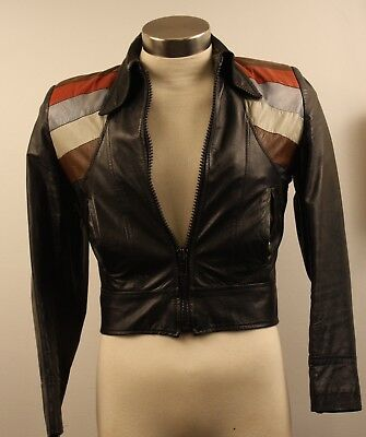 SMALL 36 R,BROWN ORIGINAL VINTAGE 1970s LEATHER  JACKET .