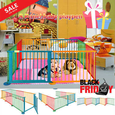 8 panel Baby Toddler Infant Wooden Playpen Play Yard Fence Room Divider Foldable