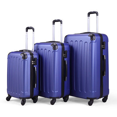 "20&24&28"" 3Pcs Luggage Travel Set 4 Wheel ABS+PC Trolley Deep Blue Carry On Case"