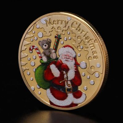 Christmas Santa Claus Commemorative Coin Present Souvenir New Year Crafts Gifts