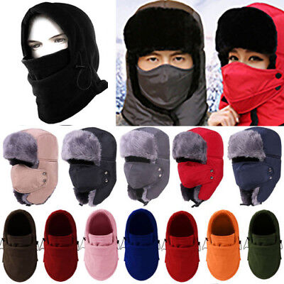 ea4e1cb8481f8b Mens Women Unisex Warm Trapper Aviator Trooper Earflap Winter Ski Hat With Mask  Hats