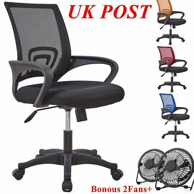 Black Office Chairs Mesh Swivel High Back Chair Wheels Cushioned Footrest Home