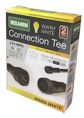 Holman WARM WHITE PLUG & SOCKET CONNECTION TEE 2-Pin Safe & Secure *Aust Brand