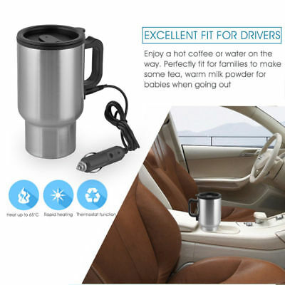 12V In Car Thermal Heated Travel Mug Cup Plug Heater Camping Coffee