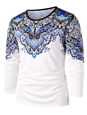 Men Ethnic Flower Paisley Print Long Sleeve Basic T-Shirt Casual Fitness Gym Top