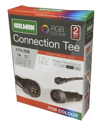 Holman RGB PLUG & SOCKET CONNECTION TEE 4-Pin Safe & Secure *Australian Brand