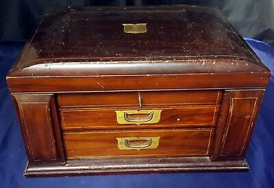 Edwardian Empty Cutlery Chest / Canteen For 12 Settings - 2 Drawer - Antique