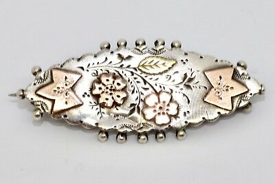 A Nice Antique Victorian C1893 925 Sterling Silver & Gold Brooch #10567