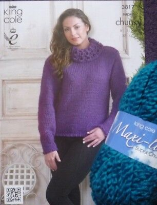 King Cole Maxi-Lite Super Chunky Ladies Roll Neck Sweater Knitting Kit