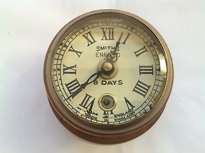 Smith Enfield 1911 Brass Wind Up 8 Day Ship's Clock from early 1930's England