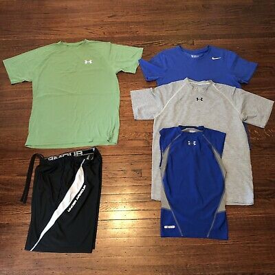 Lot (3) UNDER ARMOUR + Nike MEN'S Small Athletic Shirts GRAY Royal Blue Green
