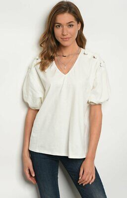 Ladies womens lace up Top in White shoulder