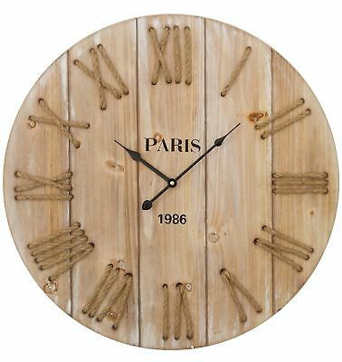 Wall Clock Brown Wood Watch Board Cottage Shabby Chic Antique Look Big Cord