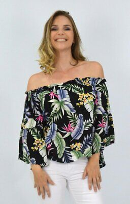 womens Ladies off the shoulder OTS top in Black with Tropical Floral