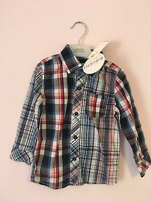 Boys Indigo M&S Checked Shirt 18-24 Months Bnwt
