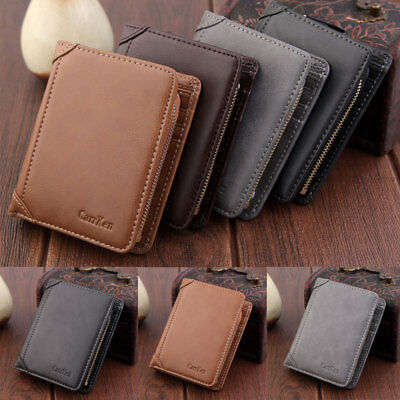 Men's Wallet Leather Pocket Card Clutch ID Credit  Bifold Purse Zip Short Wallet