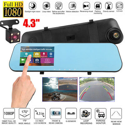 "4.3"" Auto Kamera Mirror Dashcam Nachtsicht Dual Lens Touch Screen 170° DVR 1080p"