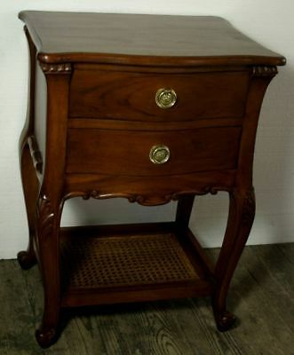 Pair of Solid Mahogany French Style Antique Wax Rattan Shelf Bedside Chests