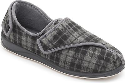 Padders PHILLIP Mens Microsuede Comfy Extra Wide Dual Fit (H/K) Slippers Grey