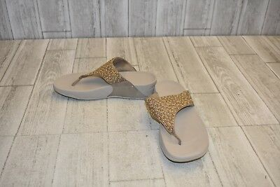 8a33490f6d8 FITFLOP LULU POPSTUD Toepost Desert Stone Padded Wedge Sandals Size ...