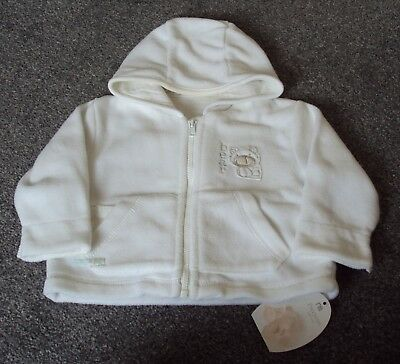 baby boys Mothercare white fleece hooded top, age 3-6 months, NEW.