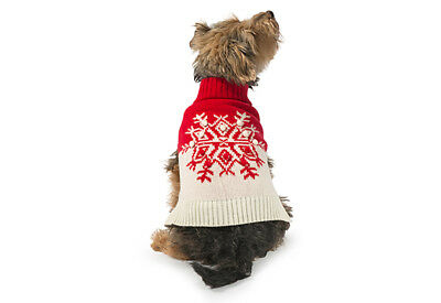 "Ancol Red Snowflake Dog Christmas Jumper Festive Warm L 20"" Large Cute Cosy"
