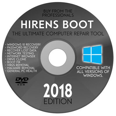 Hiren's BOOT CD DVD Hirens BootCD 2018 Utility Toolkit Disk Recovery (latest ed)