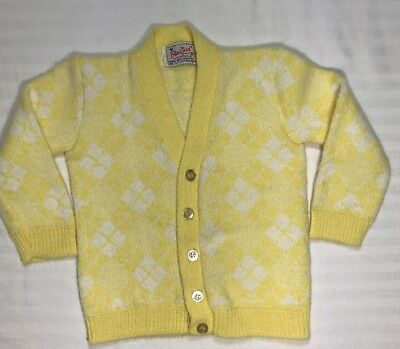 BLUE BIRD VINTAGE Baby Boy Yellow Argyle /Diamond Cardigan Sweater Orlon EUC