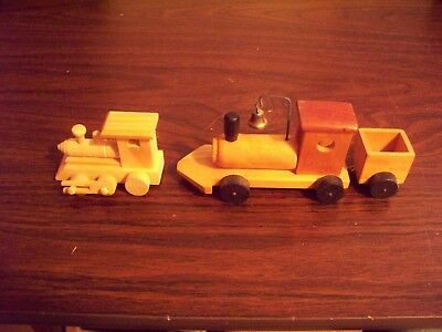 2 X Vintage Collectible Hand Crafted Wooden Train Toys